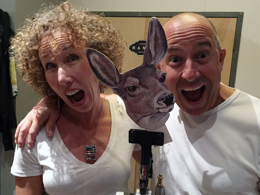 ibelieveinMOCA Lisa and Tom Goodrich with Deer Head Cutout