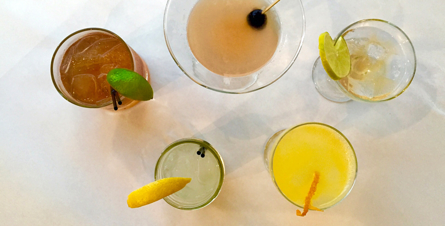 Five different hand-crafted cocktails