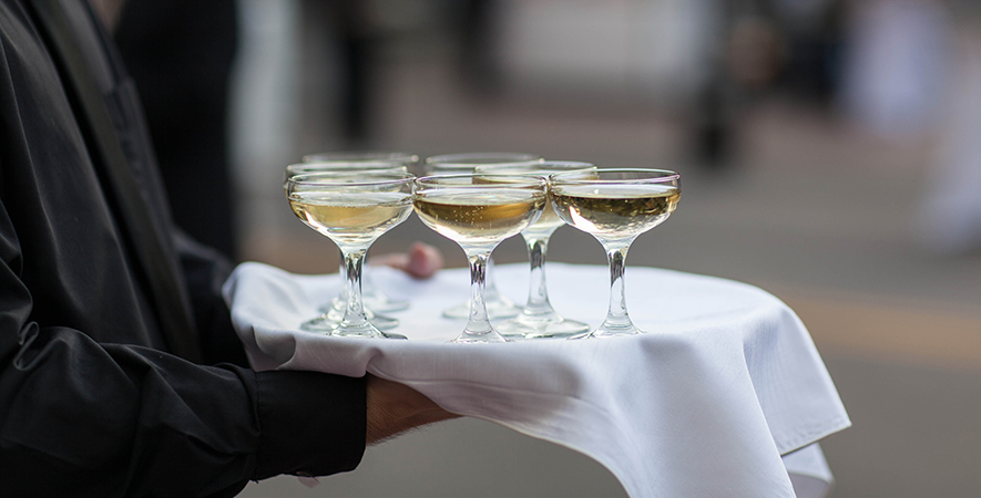 A Waiter Serves Champagne at MOCA Jacksonville